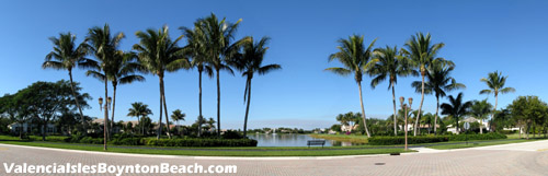 Keep the outside world at bay. Some of the common areas at Valencia Isles are very park-like.